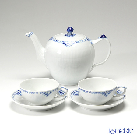 ロイヤルコペンハーゲン(Royal Copenhagen) プリンセス ブルー 2人用 ティー3点セット(ティーカップ&ソーサー×2&ティーポット×1)