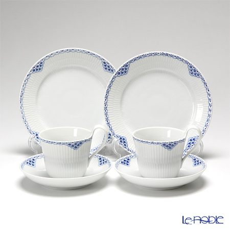 Royal Copenhagen 'Princess' 1104092/1017248&1104620/1017270 High handle Cup & Saucer, Plate (set of 4 for 2 persons)