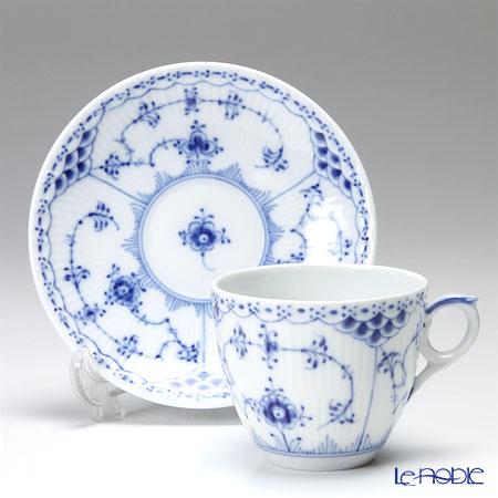 ロイヤルコペンハーゲン(Royal Copenhagen) ブルー フルーテッド ハーフレースコーヒーカップ&ソーサー 170cc ペア 1102071/1017205