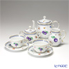 Richard Ginori 'Italian Fruits (Flower) / Antico' Tea Cup & Saucer, Plate, Tea Pot, Sugar Pot, Creamer (set of 5 for 2 persons)