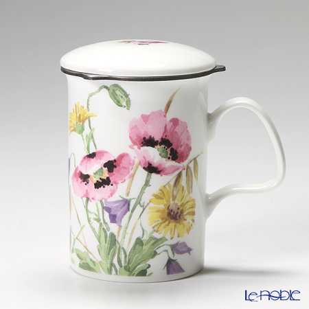 Roy Kirkham English Meadow Infuser Mug, pink with gift box
