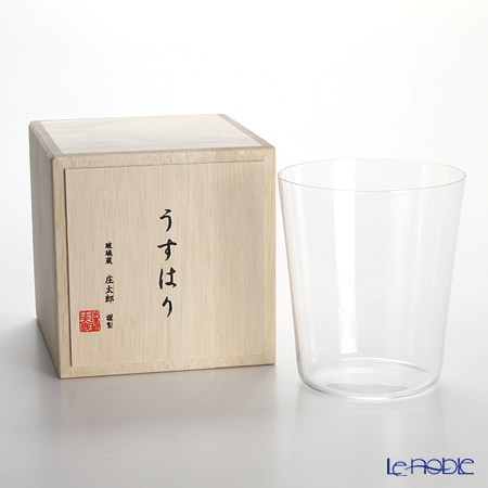 Shotoku Glass Usuhari Old Fashioned (L) with wooden box