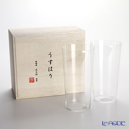 Shotoku Glass 'Usuhari' Tumbler 480ml (LL / set of 2 with wooden box)