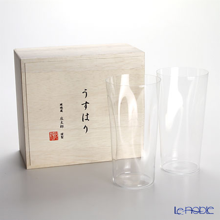 Shotoku Glass 'Usuhari - Shiwa Crinkled' Tumbler 480ml (LL / set of 2 with wooden box)