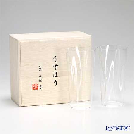 Shotoku Glass 'Usuhari - Shiwa Crinkled' Tumbler 340ml (L / set of 2 with wooden box)