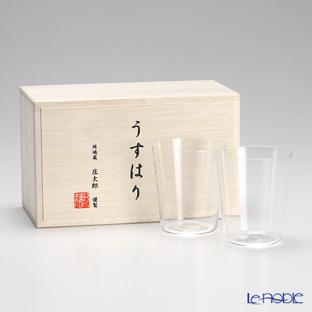 Shotoku Glass 'Usuhari' OF Tumbler 150ml (S / set of 2 with wooden box)
