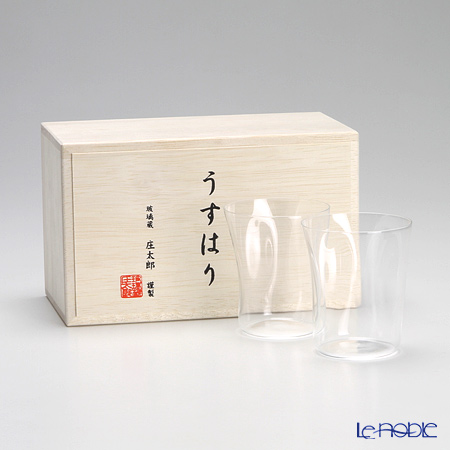 Shotoku Glass 'Usuhari - Shiwa Crinkled' OF Tumbler 150ml (S / set of 2 with wooden box)