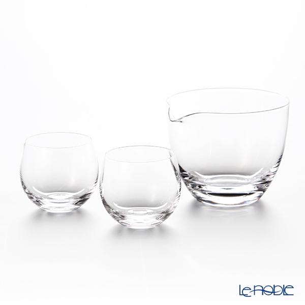 Shotoku Glass round sake Sake set bit 2 + single-1