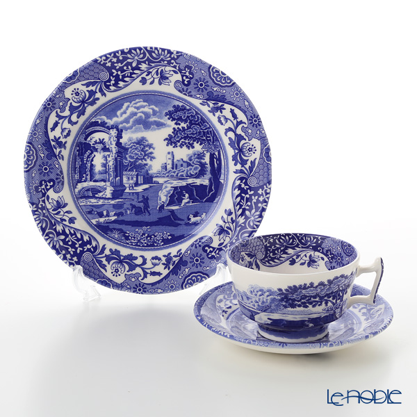 Spode Blue Italian Plate 20 Cm And Tea Cup Saucer