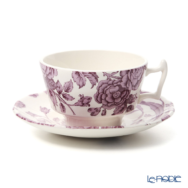 Spode 'Kingsley' White & Purple Tea Cup & Saucer 200ml (set of 2)