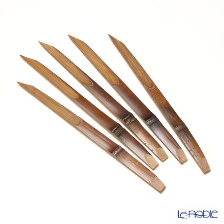 高野竹工 和菓子5客組セット ぶどう杉小皿&本煤竹楊枝節付