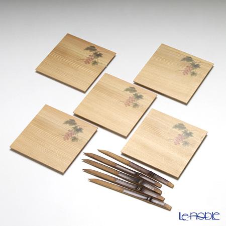 高野竹工 和菓子5客組セット ぶどう 杉小皿&本煤竹楊枝節付