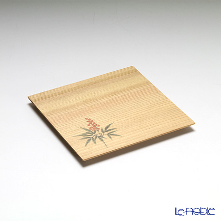 Takano Chikko / Cedar & Bamboo Craft 'Nandina' Square Flat Plate & Sweets Toothpick (set of 10 for 5 person)