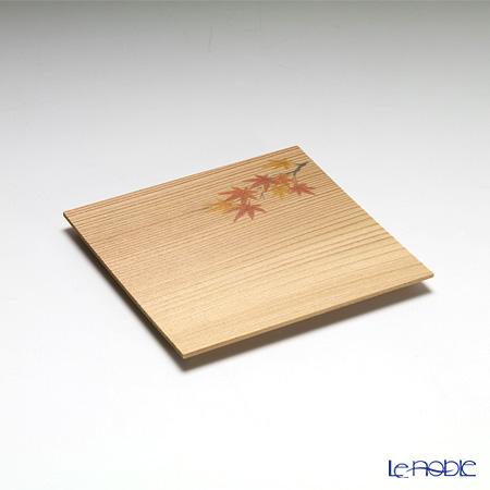 高野竹工 和菓子5客組セット もみじ杉小皿&本煤竹楊枝節付