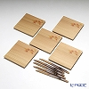 Takano Chikko / Cedar & Bamboo Craft 'Autumn Leaf / Red Maple' Square Flat Plate & Sweets Toothpick (set of 10 for 5 person)