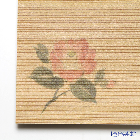 Takano Chikko / Cedar & Bamboo Craft 'Camellia Flower' Square Flat Plate & Sweets Toothpick (set of 10 for 5 person)