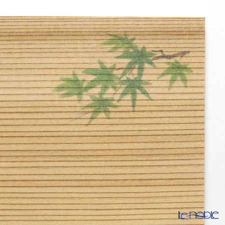 Takano Chikko / Cedar & Bamboo Craft 'Green Maple' Square Flat Plate & Sweets Toothpick (set of 10 for 5 person)