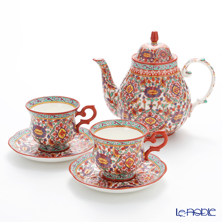 Pinsuwan Benjarong 'Benjamas Flower' White Red Tea set for 2 persons (set of 3)