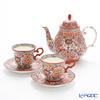 Benjarong ware Manufactory pine Swan benjamasflower Tea Cup & Saucer and teapot tea set for 2 person.
