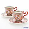 Benjarong ware Manufactory pine Swan benjamasflower Tea Cup & Saucer pair