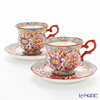 Pinsuwan Benjarong 'Benjamas Flower' White Red Tea Cup & Saucer (set of 2)