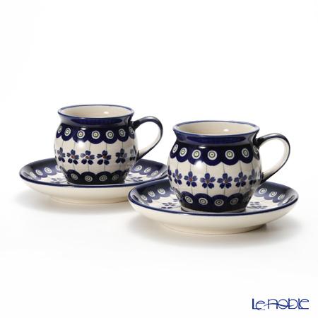 Polish Pottery Boleslawiec '166A-GU913/710' Coffee Mug Cup & Saucer 160ml (set of 2)