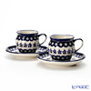 Polish Pottery Boleslawiec '166A-GU913/710' Coffee Mug Cup & Saucer 160ml (set of 2)