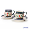 Polish Pottery Boleslawiec 'DU158-GU913/710' Coffee Mug Cup & Saucer 160ml (set of 2)