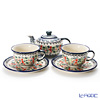 Polish Pottery Boleslawiec 'DU158-GU775/836&864' Tea Cup & Saucer, Tea Pot (set of 3 for 2 persons)