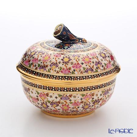 Buran Benjarong 'Buo Jud Tong (Lotus Flower)' Multicolor Tea Cup & Saucer, Tea Pot, Sugar Pot, Creamer (set of 9 for 6 persons)