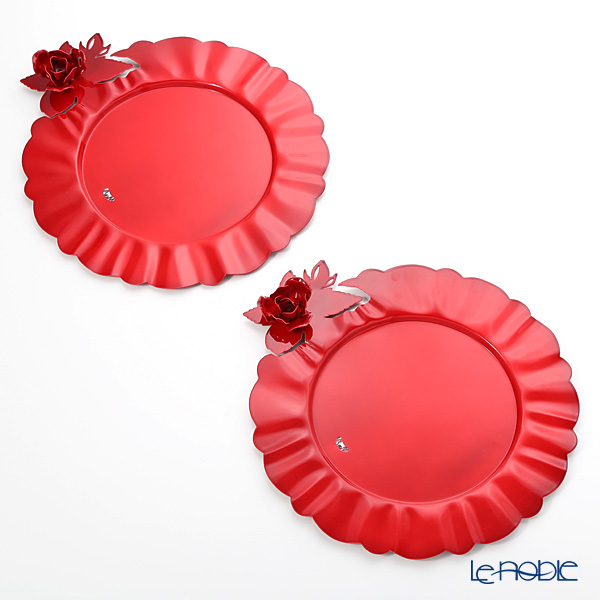 Arti-et-mastery rose bouquet Metal charger plate red pair diameter 35 cm