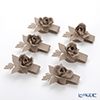 Arti-et-mastery rose bouquet Napkin holder beige 6 piece set steel
