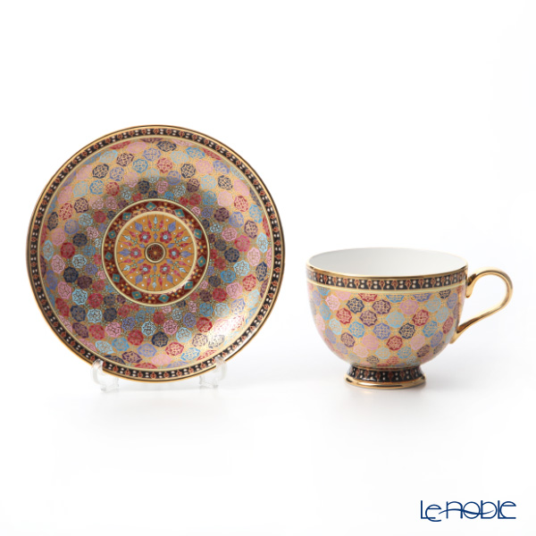Buran Benjarong 'Pikhun khantou Flower' Tea Cup & Saucer, Mini Plate (set of 2)