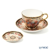 Buran Benjarong 'Pikhun khantou Flower' Tea Cup & Saucer, Mini Plate (set of 2)