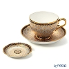 Buran Benjarong 'Krachan Gray' Tea Cup & Saucer, Mini Plate (set of 2)