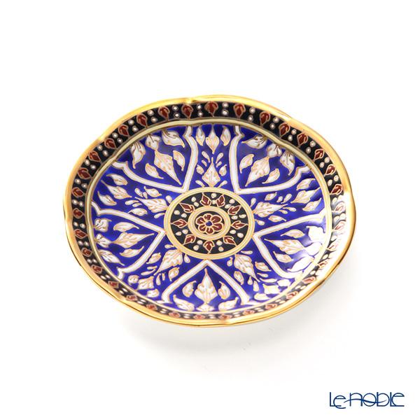 Buran Benjarong 'Lotus Channel' Blue Tea Cup & Saucer, Mini Plate (set of 2)
