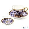 Buran Benjarong 'Lotus Channel' Blue Tea Cup & Saucer, Mini Plate (set of 2)