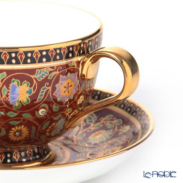 Buran Benjarong 'Sukhothai Maroon' Tea Cup & Saucer, Mini Plate (set of 2)