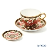 Buran Benjarong 'Plumeria' Red Tea Cup & Saucer, Mini Plate (set of 2)