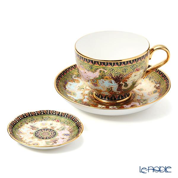 Buran Benjarong 'Thai Elephant' Tea Cup & Saucer, Mini Plate (set of 2)