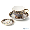Buran Benjarong 'Water Lotus' Black Tea Cup & Saucer, Mini Plate (set of 2)