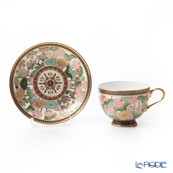 Buran Benjarong 'Lotus' White Tea Cup & Saucer, Mini Plate (set of 2)