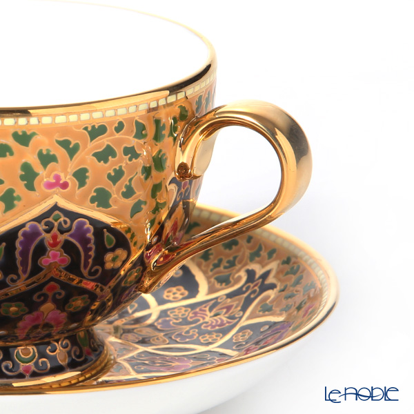 Buran Benjarong 'Black Pome Granitt' Tea Cup & Saucer, Mini Plate (set of 2)