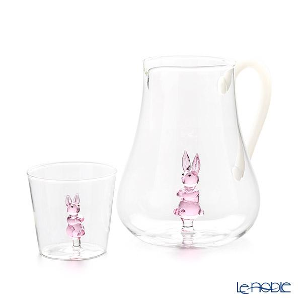Ichendorf 'Greenwood - Animal Farm / Rabbit' Pink Tumbler & Pitcher Jug (set of 2)