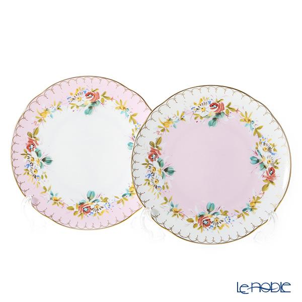 ニナス オリジナル マリーアントワネット 1775プレート 18cm ピンクふち&ホワイトふち ペア