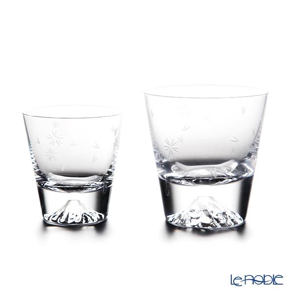 Tajima Glass 'Mt. Fuji Glass - Sakura Kiriko' Rock Glass ( L&S set of 2 size / with Cherry Blossom pattern Furoshiki) TG16-015-RS&TG20-015-MRS【传统工艺】田岛玻璃 '富士山 - 樱花切子' 威士忌杯 (大小 2件套 樱花风吕敷包装)