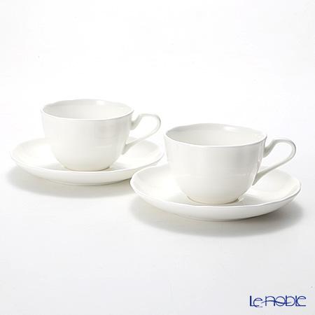プリモビアンコ 白の器 ティーカップ&ソーサー(フラワーシェイプ) ペア