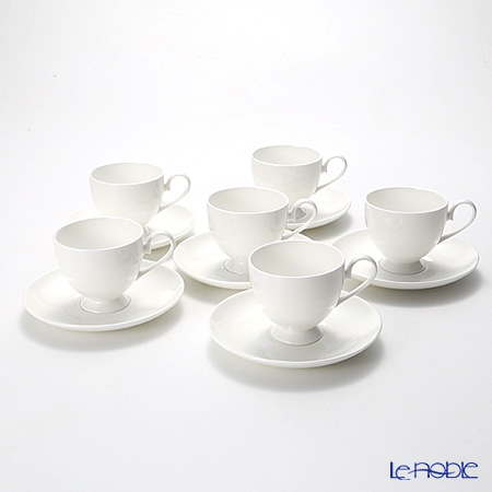 プリモビアンコ 白の器コーヒーカップ&ソーサー(フーテッドシェイプ) 6客セット