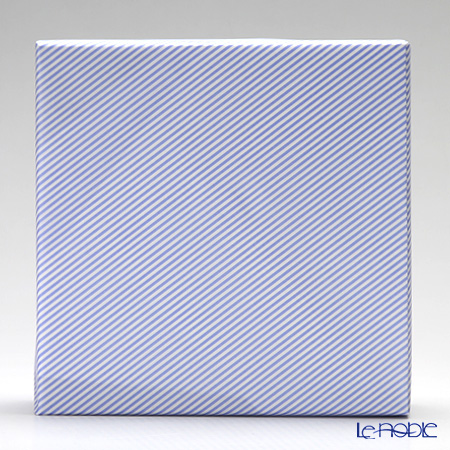 Gift 'Stripe' Blue White Wrapping Paper with Cross Ribbon