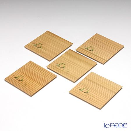 高野竹工 杉小皿 かえる 5枚セット 110-06